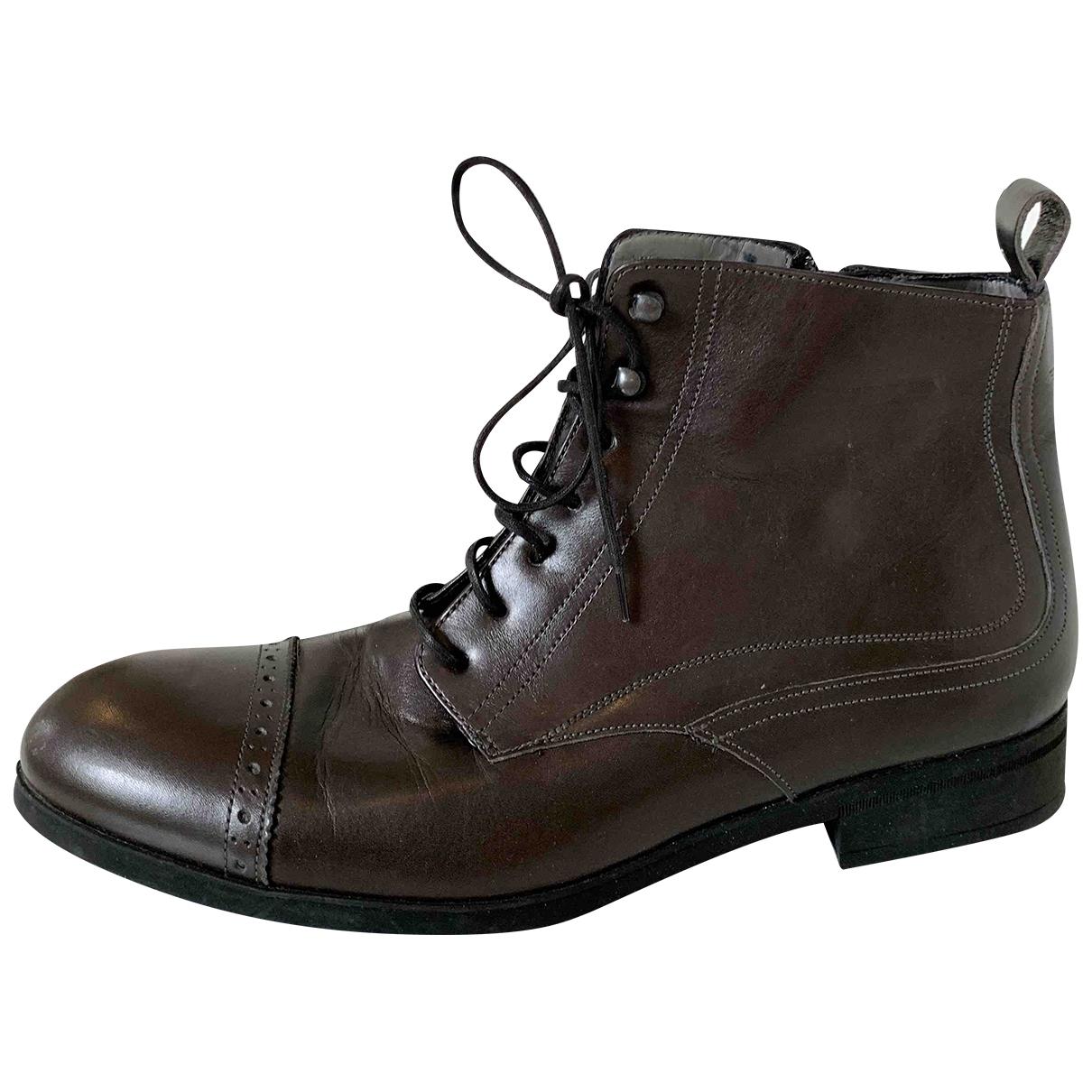 Emporio Armani \N Stiefel in  Braun Leder