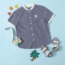 Boys Contrast Collar and Cuff Eagle Embroidered Striped Shirt