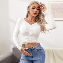 V-neck Ruched Detail Lace Trim Tee