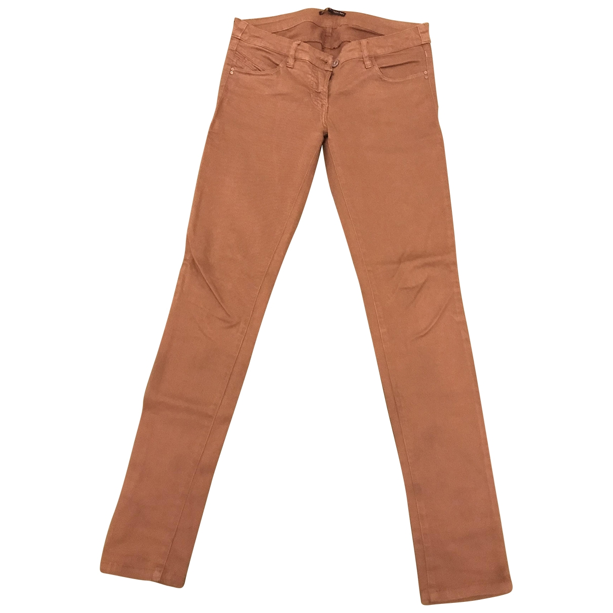 Patrizia Pepe \N Camel Cotton Trousers for Women 40 IT