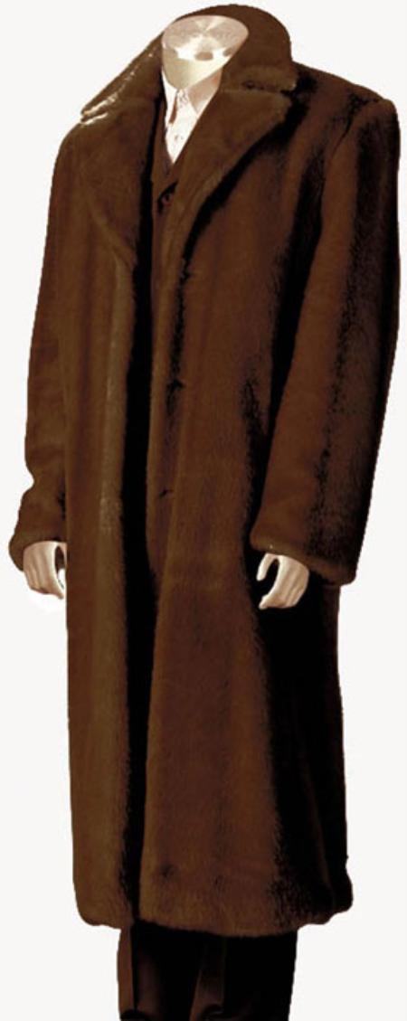 Mens Faux Fur Full Length Coat Brown