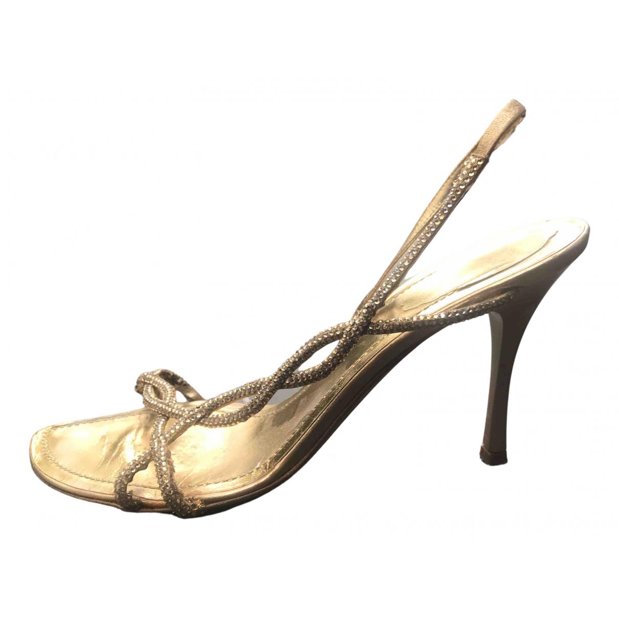 Rene Caovilla N Gold Glitter Heels for Women 40 EU