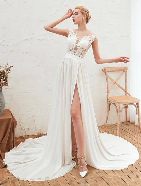 Milanoo Wedding Dress 2020 V Neck Sleeveless A Line Split Chiffon Beach Bridal Gowns With Train
