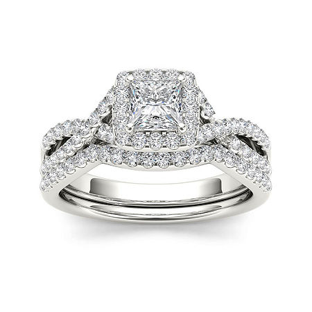 1 CT. T.W. Diamond 14K White Gold Bridal Ring Set, 8 , No Color Family