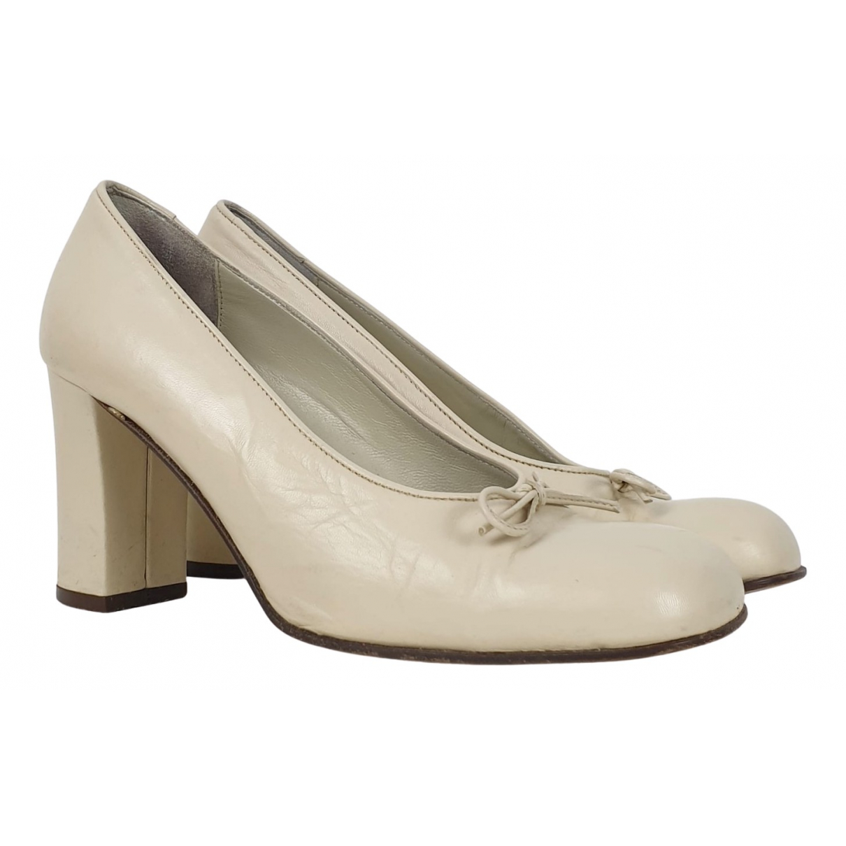 Non Signé / Unsigned \N White Leather Heels for Women 37 IT