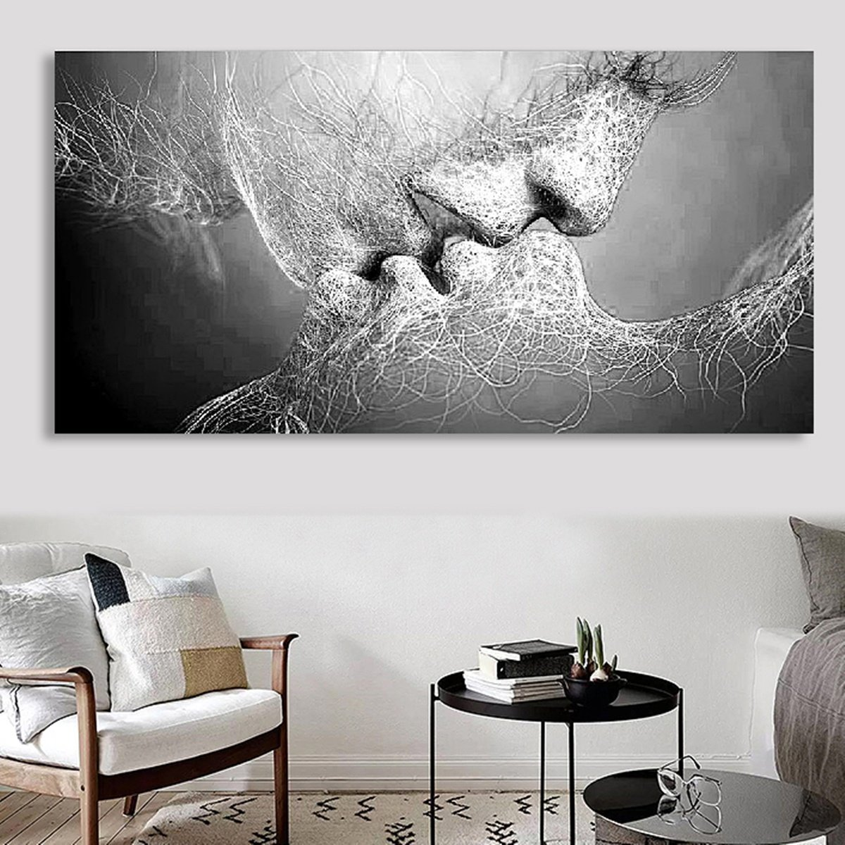Kiss Abstract No Frame Canvas Painting Grey Home Bedroom Wall Art Decor