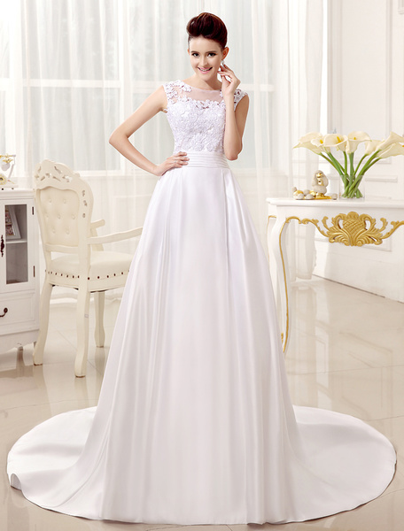 Milanoo White Wedding Dress For Bride with Bateau Neck A-line Pleated