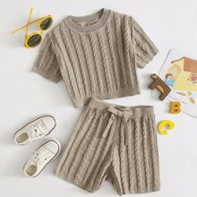 Girls Cable Knit Top & Knot Waist Shorts Set