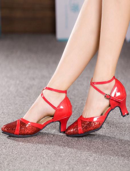 Milanoo Glitter Ballroom Shoes Black Round Toe Criss Cross Latin Dance Shoes Women Tango Dance Shoes