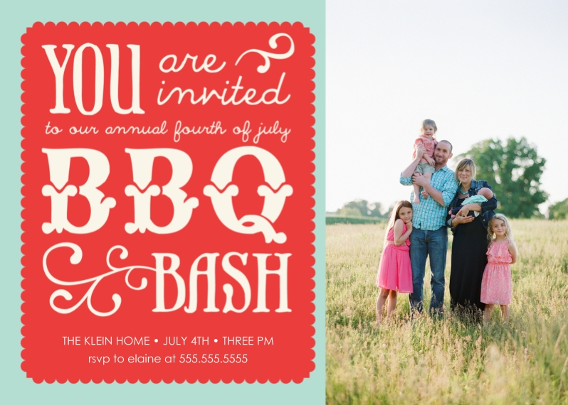 4th of July Photo Cards 5x7 Cards, Standard Cardstock 85lb, Card & Stationery -Fun Fonts BBQ Bash