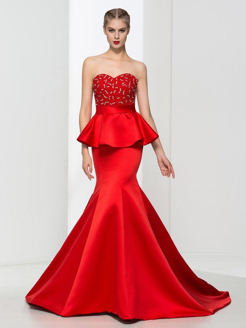 Ericdress Sweetheart Beading Ruffles Evening Dress