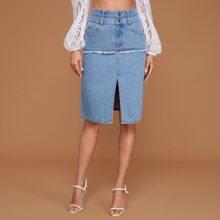 Falda denim ribete amplio de cintura alta