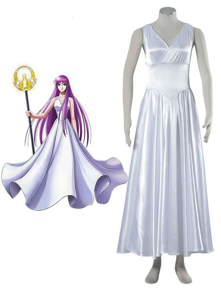 Milanoo Halloween Traje de Athena para cosplay de Saint Seiya