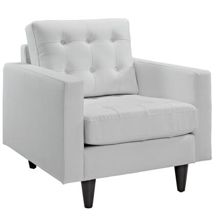 Empress Collection EEI-1012-WHI Armchair with Button Tufted Cushions  Track Arms  Solid Wood Tapered Legs  Plastic Glides and Bonded Leather