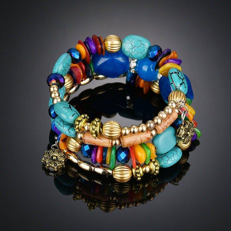 Retro Turquoise Winding Bracelet Multi-Layer Natural Stone Bracelet For Men