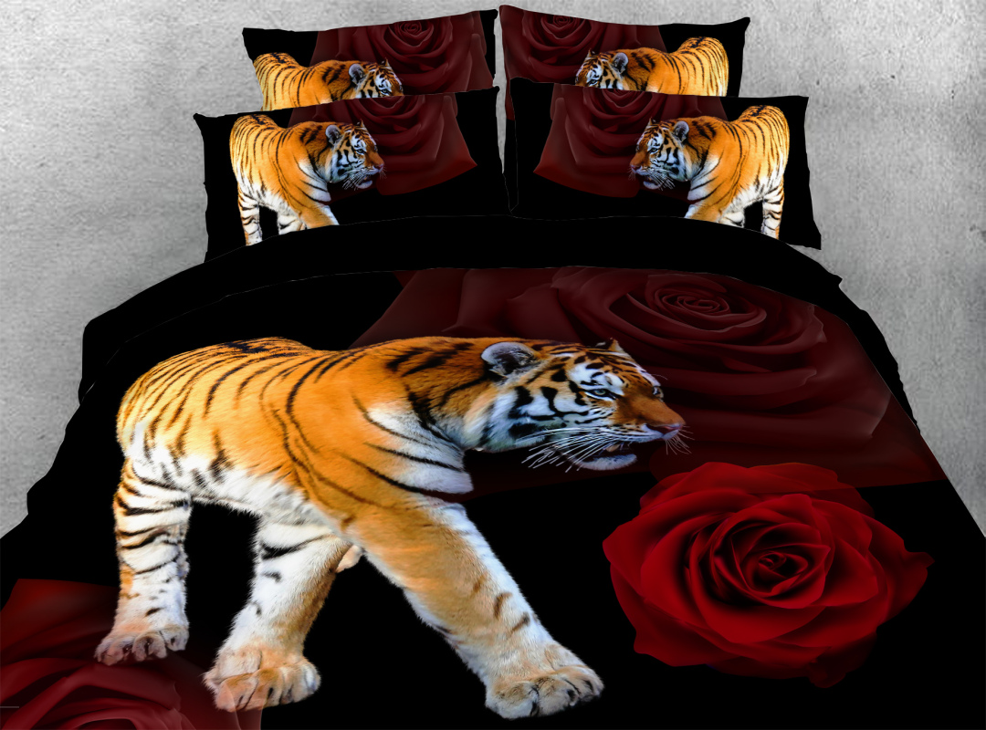 Tiger and Rose 4-Piece Soft 3D Animal Bedding Sets Colorfast Hard-wearing Zipper Duvet Cover with Corner Ties