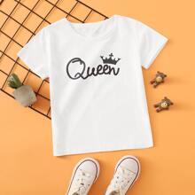 T-Shirt mit Krone & Buchstaben Grafik