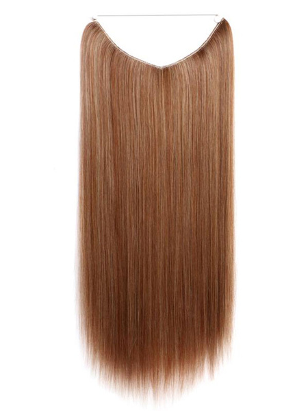 Milanoo Women Synthetic Wigs Taupe Layered Straight Long Hair Extensions