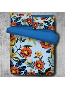 Orange Cosmos Flowers Pattern Pastoral Style Blue 4-Piece Polyester Bedding Sets/Duvet Cover
