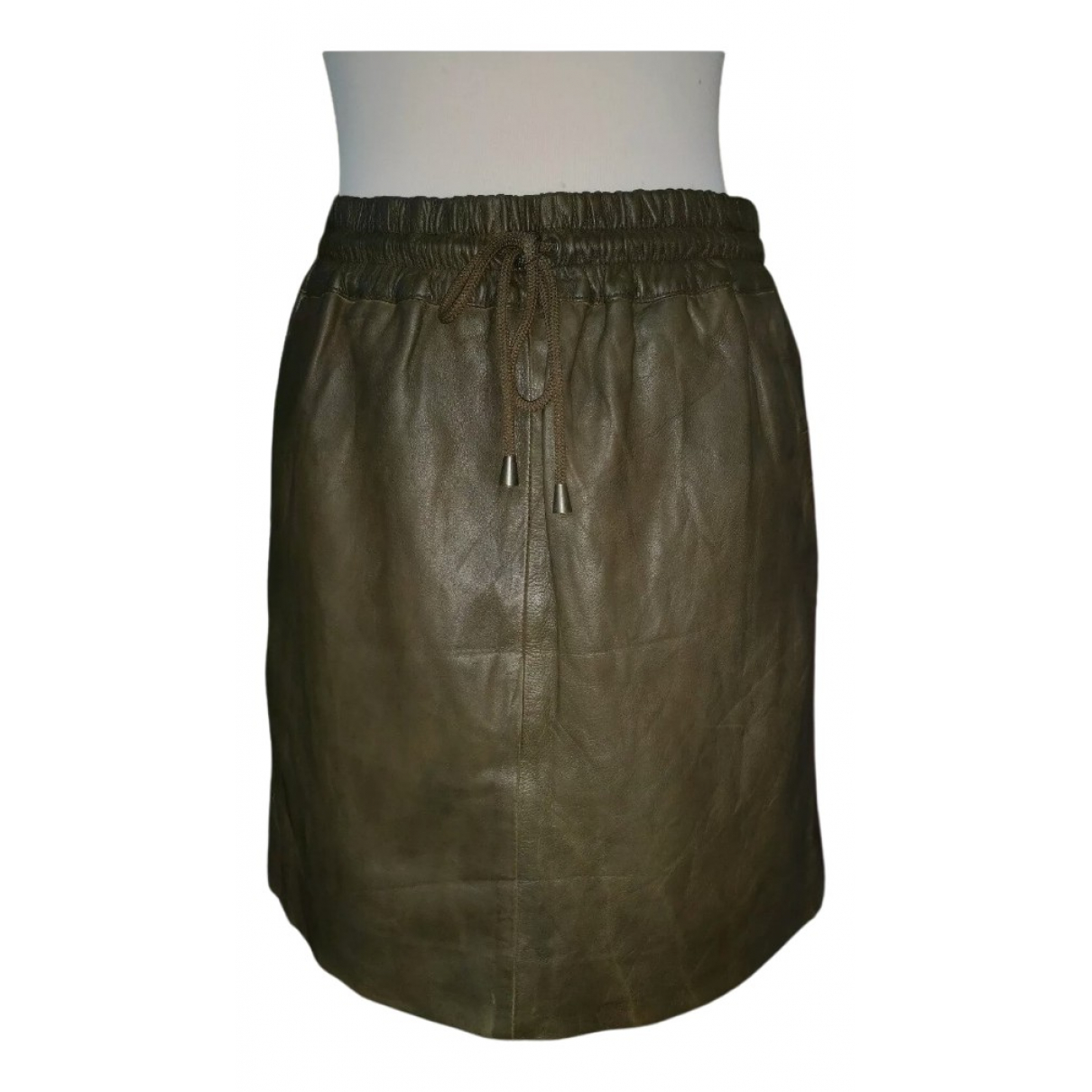 Non Signé / Unsigned \N Green Leather skirt for Women 40 FR