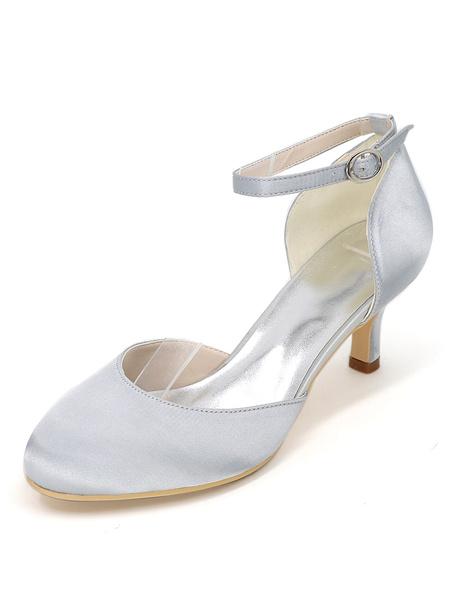 Milanoo Women Wedding Shoes Purple Round Toe Ankle Strap Pumps Satin Kitten Heels