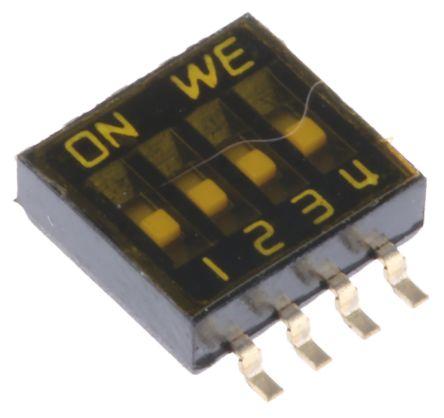 Wurth Elektronik 4 Way Surface Mount DIP Switch 4P, Flat Actuator