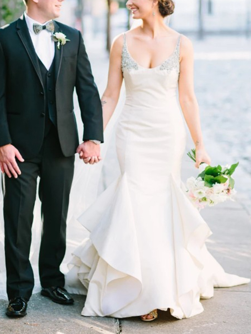 Ericdress Beading Spaghetti Straps Tiered Mermaid Wedding Dress