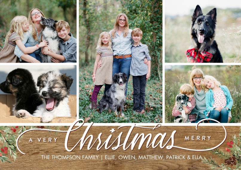 Christmas Photo Cards Flat Glossy Photo Paper Cards with Envelopes, 5x7, Card & Stationery -Christmas Script Foliage Memories by Tumbalina