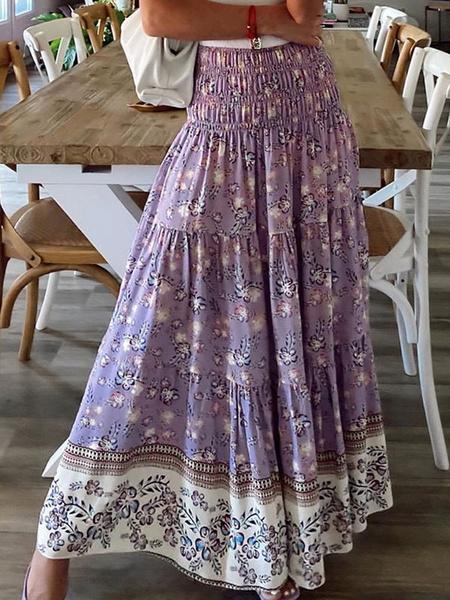 Milanoo Women Skirt Purple Printed Polyester Long Natural Waist Autumn And Winter Women Bottoms