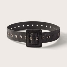 Eyelet Decor Metal Buckle Belt