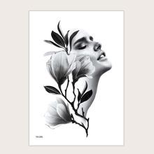Pegatina tatuaje con patron floral con figura