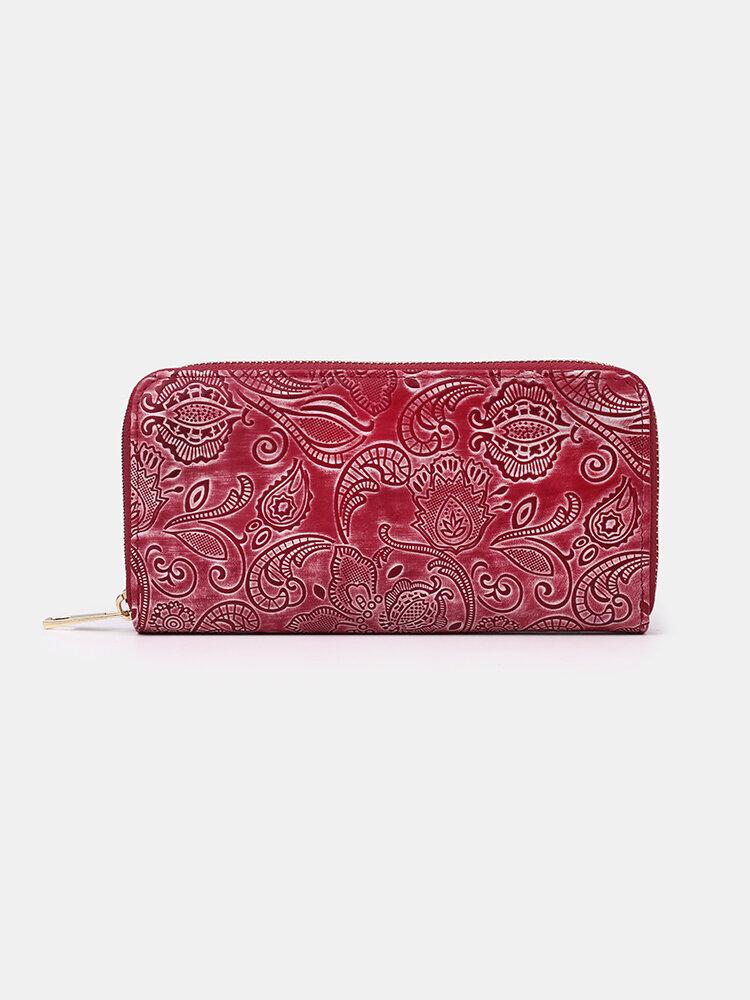 Women Genuine LeatherPrint Multi-card Slots 6.5 Inch Phone Bag Coin Purse