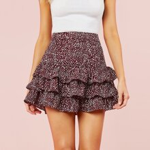 Speckled Print Mid-Waist Ruffled Skirt