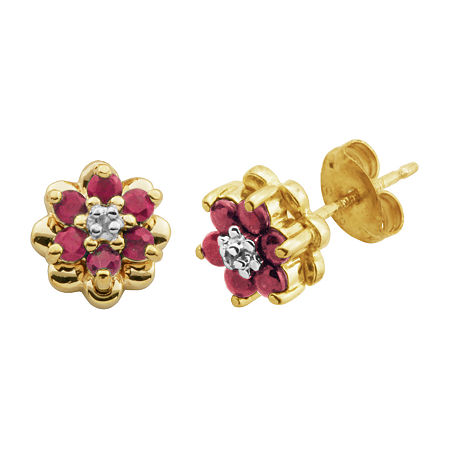 Silver Treasures Catalog Internet Ruby Sterling Silver 7.9mm Flower Stud Earrings, One Size , No Color Family
