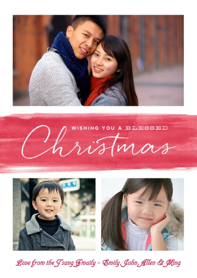 Christmas Photo Cards 5x7 Cards, Premium Cardstock 120lb with Scalloped Corners, Card & Stationery -A Wash Of Blessed Wishes