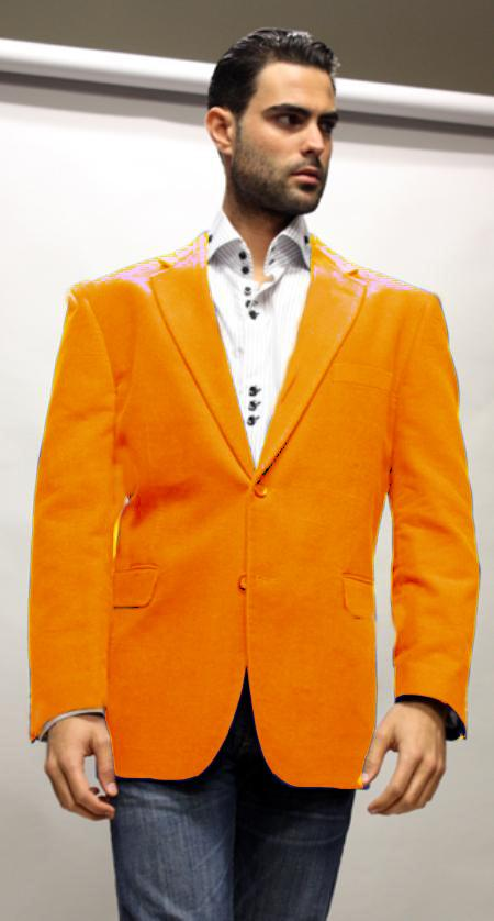Orange Supers Velvet Fabric Sport Coat