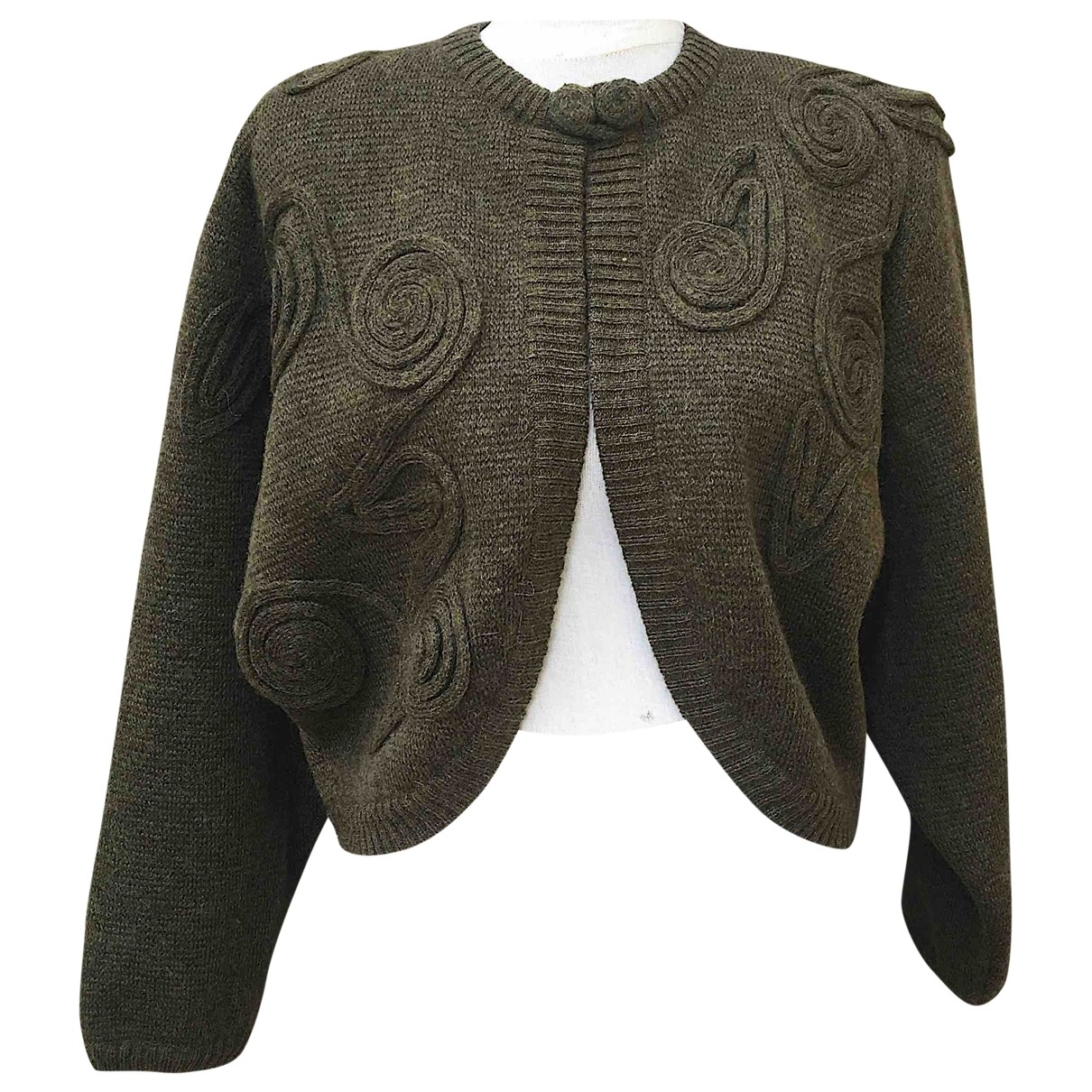 Non Signé / Unsigned Manche ballon Green Wool Knitwear for Women 44 IT