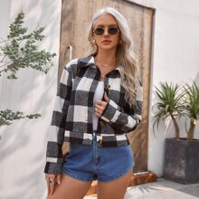 Gingham Button Front Jacket