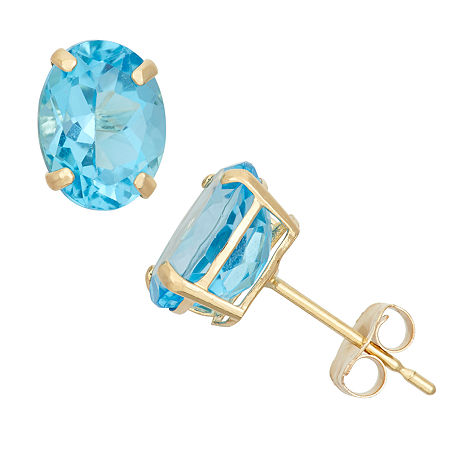 Genuine Blue Topaz 10K Gold 8mm Stud Earrings, One Size , No Color Family