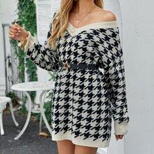 Drop Shoulder Houndstooth Sweater Dress Without Belt
