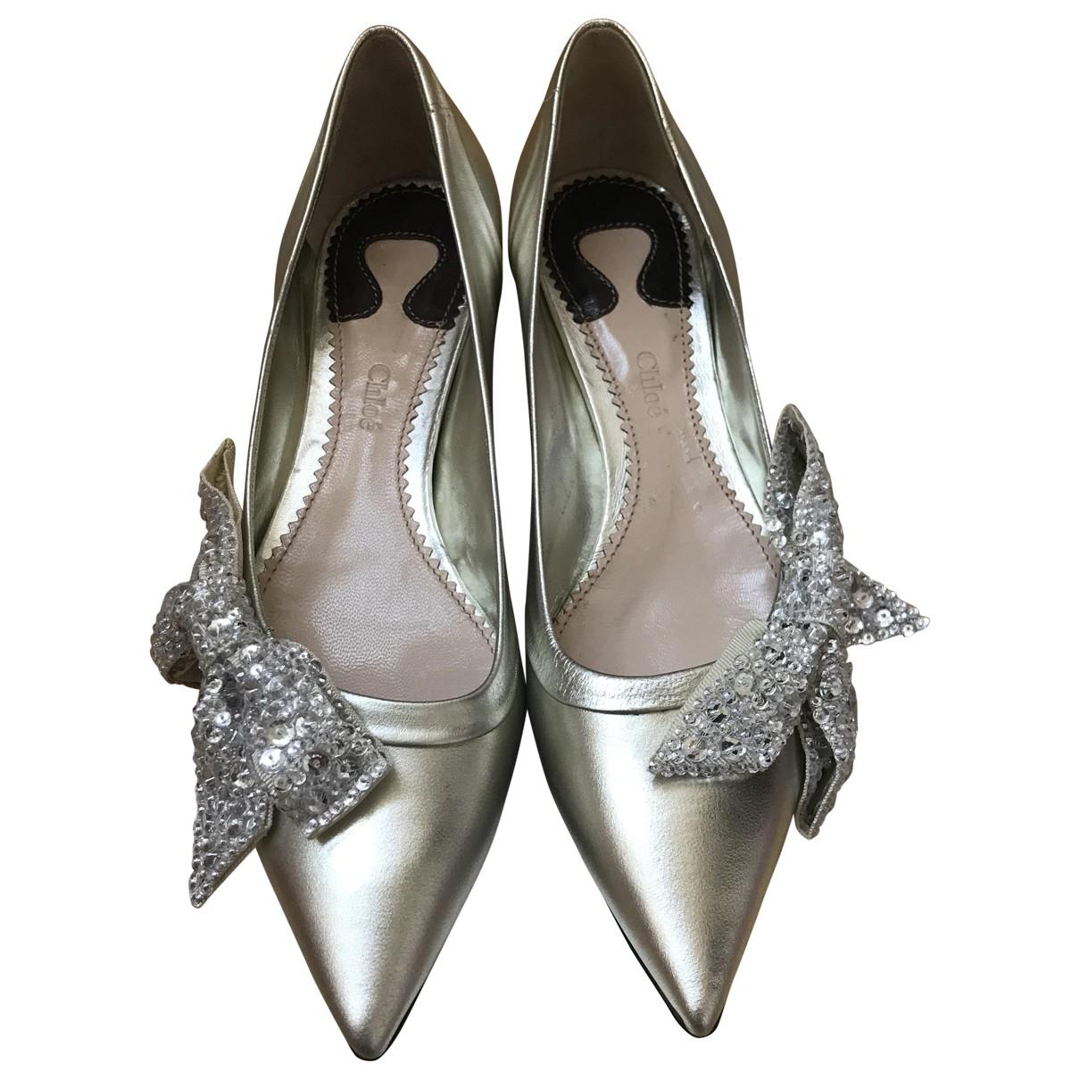 Chloe \N Ballerinas in  Silber Leder