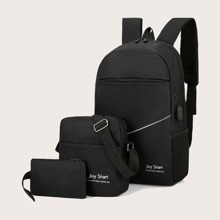 3pcs Men Letter Graphic Backpack Set