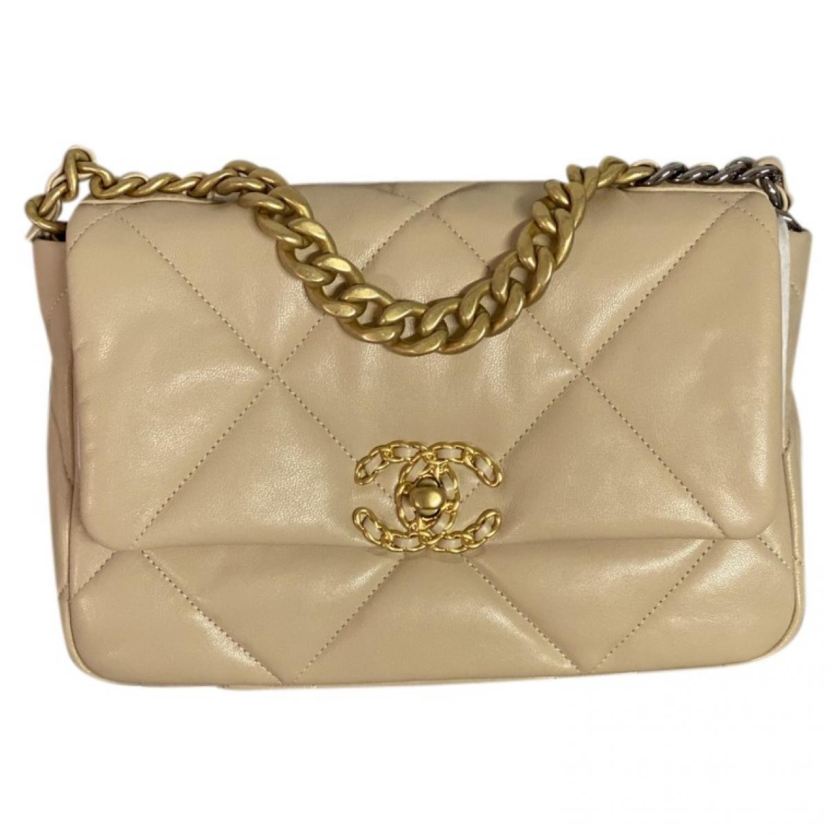 Chanel - Sac a main Chanel 19 pour femme en cuir - beige