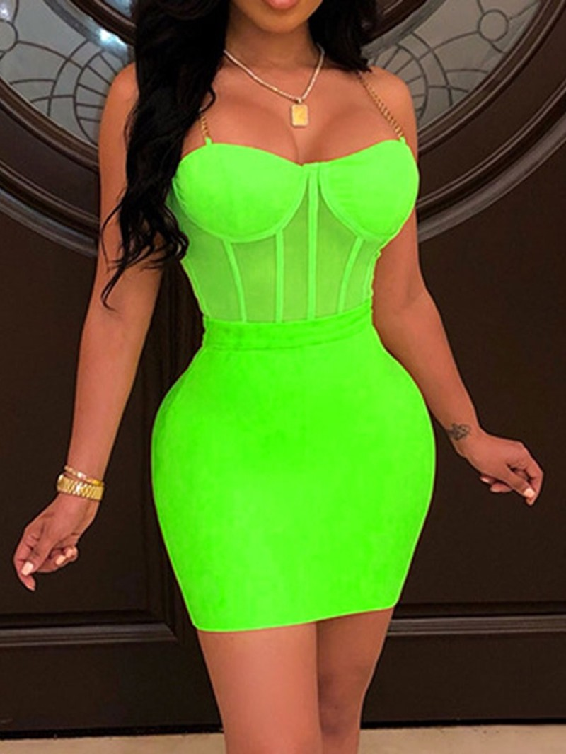 Ericdress Plain Patchwork See-Through Bodycon Vest And Skirt Two Piece Sets