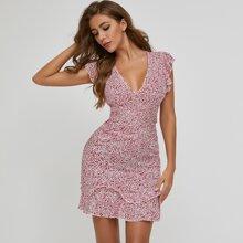 Kleid mit Band hinten, mehrschichtigem Raffungsaum und Bluemchen Muster