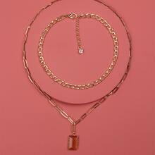 2 Stuecke Halskette mit Edelstein Anhaenger