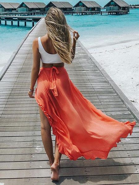Milanoo Women Long Skirt Ruffles High Low Orange Summer Skirt
