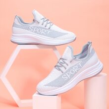 Lace Up Decor Letter Graphic Knit Sneakers