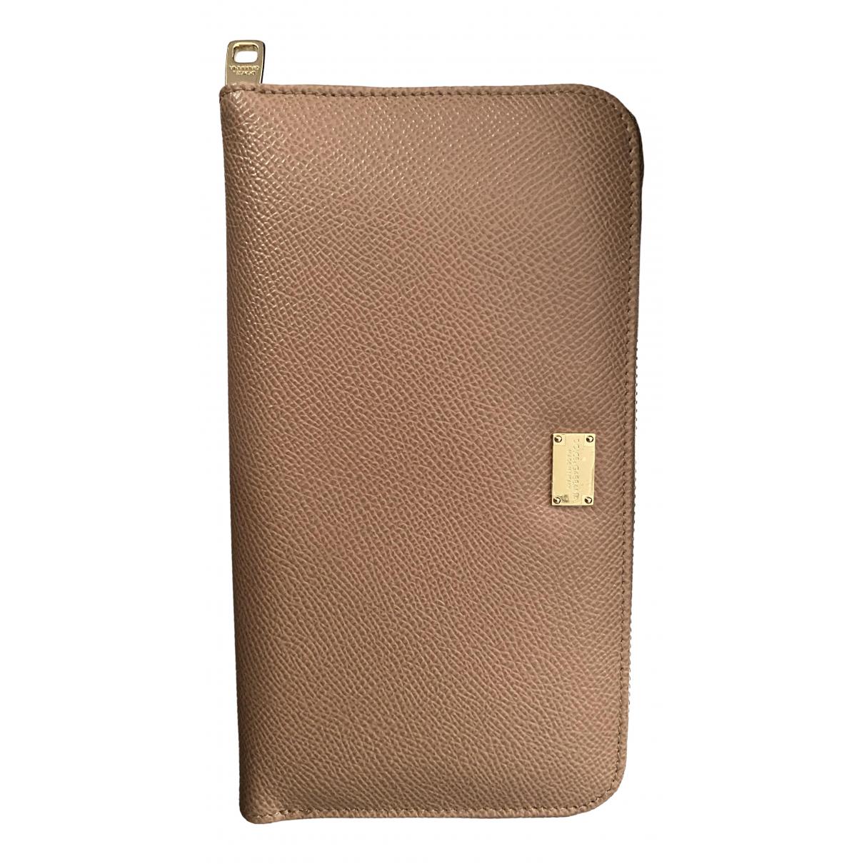 Dolce & Gabbana - Portefeuille   pour femme en cuir - beige