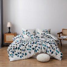 Bettwaesche Set mit Blatt Muster ohne Fuelle